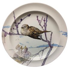 Birds RARE Pierre Mallet and Leonce Goutard Hand Painted Plate ~ 1888