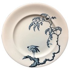HERON French Blue Transferware Plate ~ 1888