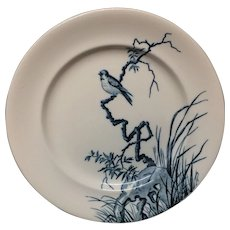 SONGBIRD French Blue Transferware Plate ~ 1888