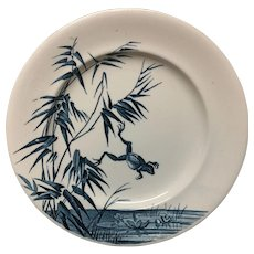 FROG POND French Blue Transferware Plate ~ 1888