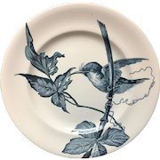 Hummingbird French Blue Transferware Plate ~ 1888