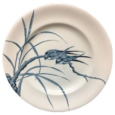 Two Swifts ~ French Blue Transferware Plate ~ 1888