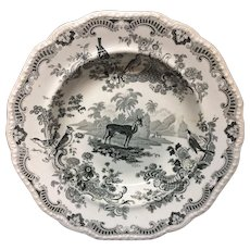 ZOOLOGICAL SKETCHES Staffordshire Pearlware Soup Plate ~ Gazelle 1820