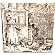Tile Wedgwood Months ~ AUGUST ~ Feeding Chickens ~ 1879