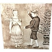 Tile ~ Wedgwood Months ~ DECEMBER ~ 1879 Mistletoe