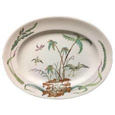 1878 ~ Exotic Polychrome Copeland Platter ~ PALMS EGRET 1878