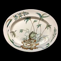 1878 ~ Large Exotic Polychrome Copeland Platter ~ PALMS EGRET HAWK 1878