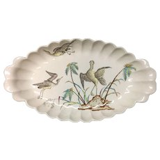 1878 Exotic Copeland Polychrome Fish Platter ~ PALMS EGRETS 1878