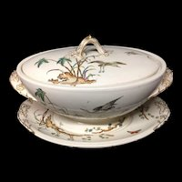 1878 Huge Soup Tureen and Platter ~ Palm Trees ~ Copeland Egrets & Butterfly 1878
