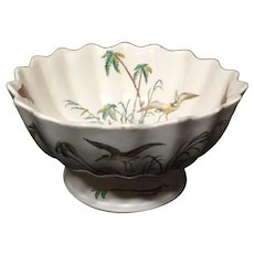 Early Copeland Polychrome Centerpiece Bowl ~ PALMS EGRET 1878