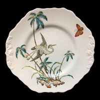 Early Copeland Exotic Polychrome Cake Plate ~ PALMS EGRET 1878