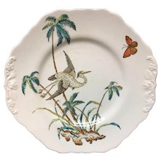 Early Copeland Exotic Polychrome Cake Plate ~ PALMS EGRET 1878
