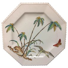 Early Copeland Exotic PolychromeFluted Plate ~ PALMS EGRET 1878