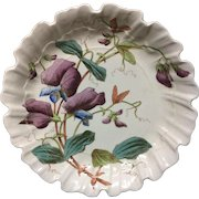Polychrome Sweet Peas Pearlware Serving Plate ~ 1873