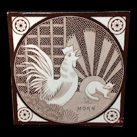 Antique Transfer Printed T & R Boote Tile ~ MORN Rooster 1872