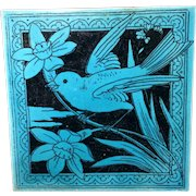 Lavender Black Transferware Tile Victorian ~ DAFFODIL 1885