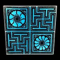 Turquoise Black Transferware Tile Victorian ~ GEOMETRICS 1885