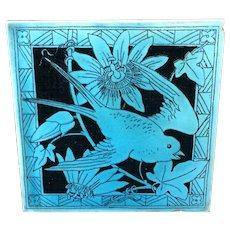 Turquoise Minton Black Transferware Tile Victorian ~ Passionflower 1885