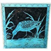 Minton Hollins Black Transferware Tile Victorian ~ SNIPE 1885