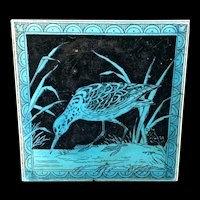 Turquoise Minton Hollins Black Transferware Tile Victorian ~ SNIPE 1885