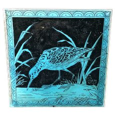 Turquoise Minton Hollins Black Transferware Tile Victorian ~ SNIPE 1885