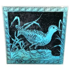 Turquoise Minton Black Transferware Tile Victorian ~ SNIPE 1885