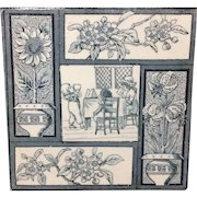 1880 Kate Greenaway Tile ~  Children Flowers 1880