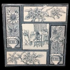 1880 Kate Greenaway Tile ~  Children Flowers 1880