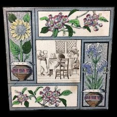 1880 Kate Greenaway Polychrome Tile ~  Children Flowers 1880