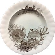 Brown Transferware Seaweed Soup Plate ~ Crab OCEANA 1891