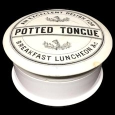 Victorian POTTED TONGUE Pot and Lid 1885