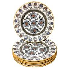 1879 ~ SIX Wedgwood Marigold Dinner Plates ~ MARIGOLD 1879