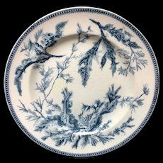 Blue Wedgwood Staffordshire Dinner Plate ~ SEAWEED 1883
