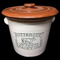 Large 7lb BUTTERCUP DAIRY Co Butter crock with Lid c1920