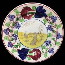 c 1900 ~ Stick Spatter Spongeware Rabbitware Ironstone Plate ~ Virginia Rose