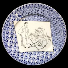 Staffordshire Bi-color Blue & Brown Hong-Kong Plate ~ 1875