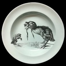 Duckling and Frog RARE Pierre Mallet and Leonce Transferware Deep Plate ~ 1870