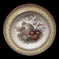 Antique Aesthetic Brown Transferware Rice or Porridge Plate ~ Edinburg 1882