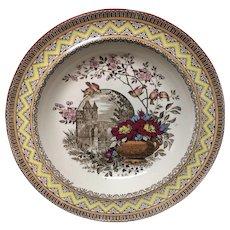 Antique Aesthetic Brown Transferware Rice or Porridge Plate ~ Edinburg 1882