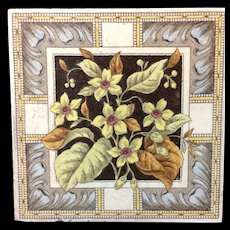 English Brown Transferware Tile ~ Yellow Star Flowers 1885