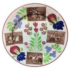 c1900 ~ Stick Spatter Rabbitware Plate ~ Virginia Rose
