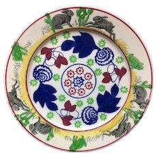 c 1900 ~ Stick Spatter Spongeware Rabbitware Ironstone Plate ~ Bulls-Eye