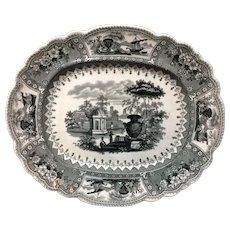 Rare Black Staffordshire Small Bacon Platter ~ CANOVA 1830