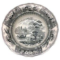Spectacular Large Black Staffordshire Wash Bowl ~ CANOVA 1830