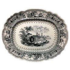 Black Transferware Pearlware Staffordshire Platter ~ CANOVA 1830