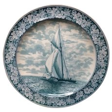 1898 ~ Wedgwood Transferware Yacht Regatta Plate ~ America's Cup THE FANNY