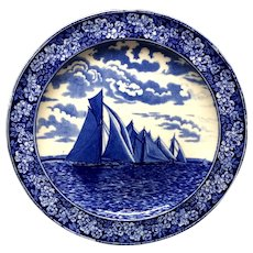 1905 ~ Wedgwood Transferware Yacht Plate ~ America's Cup RUNNING