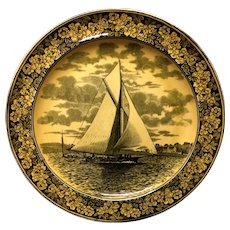 1905 ~ Wedgwood Transferware Yacht Regatta Plate ~ America's Cup THE LILLIE