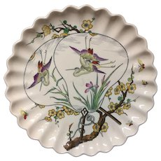 1877 Victorian Aesthetic Movement Tazza ~ Butterfly and Birds 1877