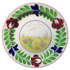 c 1900 ~ Stick Spatter Spongeware Rabbitware Ironstone CHARGER Platter